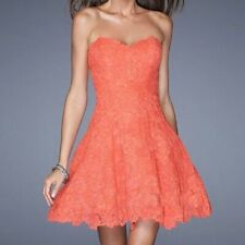 La Femme 10 Coral Strapless Lace Sweetheart Dress Homecoming Tulle Petticoat