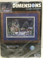 DIMENSIONS  WALKING TO TOWN COUNTED CROSS STITCH KIT #3899 14x10 Fred Swan