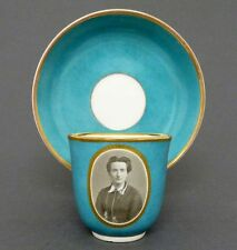 (K435) KPM Fototasse / Portrait Tasse um 1870, Cyan farbener Fond, Pfennigmarke