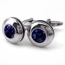 New Design  925 Sterling Silver Natural Round Blue Sapphire Cufflinks