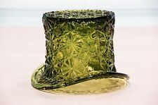 """EXTRA LARGE FENTON 3"""" Top Hat GLASS Toothpick Holder DAISY & BUTTONS Green"""
