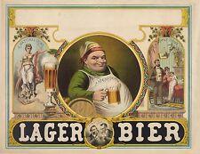 "1879 Beer Poster, Lager, 20""x16"", Vintage Bar deco, Drinking"