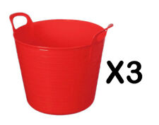 3 x 25L LITRE FLEXI TUB PLASTIC BUCKET TUBS STORAGE CONTAINER FEEDING TRUG