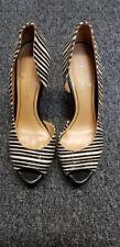 ENZO ANGIOLINI Women's Black White Striped Peep Toe High Heel Show Size 6M