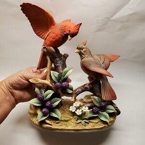 "Andrea By Sadek Cardinals Male & Female Figurine Branch Flowers 10"" EUC!"
