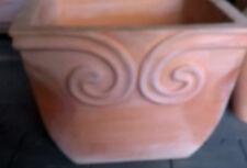 Pflanztopf, Terracotta, quadratisch, Linienmuster, 22 cm Höhe