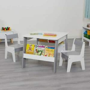 Kids White and Grey Bookshelf Table and Chair Set