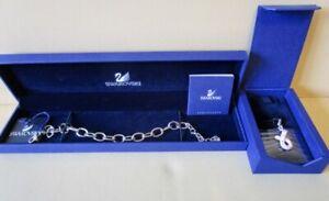 SWAROVSKI Charm Bracelet and Breast Cancer Charm AUTHENTIC NIB