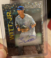 BOBBY WITT Jr. SSP CRACKED ICE HOLO #'d /50 ON CARD AUTO 2020 BOWMAN PLATINUM