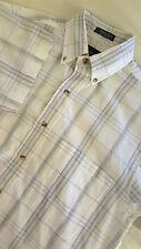 GANT Men's Short Sleeve Button Front Shirt Size Small S Windowpane FOXHUNT PLAID
