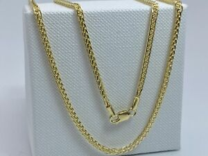 """Genuine 9K Yellow Gold Mens&Woman 2mm Square Spiga Chain Necklace 18"""" New"""