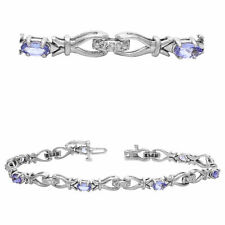 14k White Gold 1.75ctw Tanzanite & Diamond Ribbon Link Bracelet