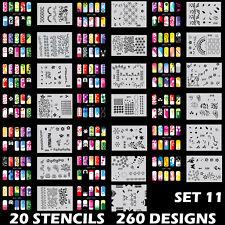 Set 11 260 Airbrush Nail Art STENCIL DESIGNS 20 Template Sheets Kit Brush Paint