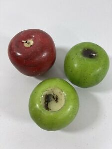 Vintage Novelty 3pc Fruit Apple Shape Candle Display Props Candle Red Green
