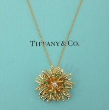 TIFFANY & Co. 18K Yellow Gold Emerald Diamond Anemone Pendant Necklace