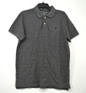 American Eagle Men Gray Short Sleeve Coupe Standard Fit Casual Polo Shirts M