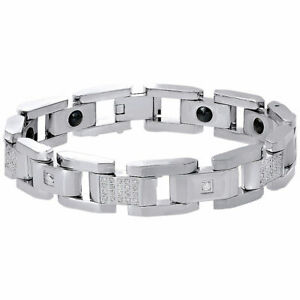 Mens Stainless Steel IP-Plated with Diamond 8.5 inch Link Bracelet 3/4 CT.