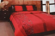 ASIA STYLE EMBROIDERY QUEEN QUILT & SHAMS SET - RED/BLACK/GOLD