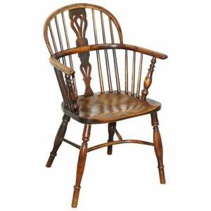 1 OF 6 BURR YEW WOOD & ELM WINDSOR ARMCHAIRS CIRCA 1860 ENGLISH COUNTRY HOUSE!!!