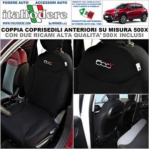 COPPIA COPRISEDILI Fiat 500X SU MISURA Fodere Foderine SOLO ANTERIORI Nero