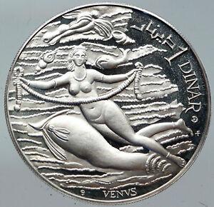 1969 TUNISIA History VENUS APHRODITE Vintage Proof Silver 1 Dinar Coin i86258