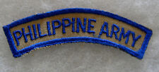 """WWII """"PHILIPPINE ARMY"""" TAB BLUE EMBROIDERED ON TAN TWILL CUT EDGE"""