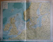 1919 LARGE MAP- NORTH SEA & BALTIC SEA, SEA DEPTHS, STEAMER ROUTE