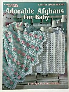 1993 Vintg Leisure Arts Crochet Pattern Book 2421 Adorable Afghans For Baby 9794
