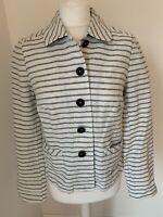 White Stuff Size 10 White & Blue Linen & Cotton Jacket