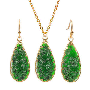 Water Drop Earrings With Necklace Iridescent Druzy Dangle Pendant Jewelry Sets