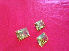 TWO PCS - 3 ct (10mm x 8mm) Simulate Diamond RADIANT CUT Light greenish yellow