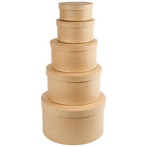 5er Set große runde Schachteln Hutschachteln Boxen zum bemalen bekleben basteln