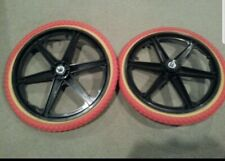 "NEW 20/"" FRONT MAG WHEEL 6 SPOKE BLACKGUM TIRE /& TUBES GT DYNO HARO BMX BICYCLES"