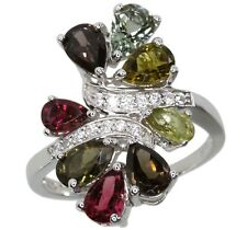 Tourmaline Gemstone Pear 3.12 carats Cluster Sterling Silver Ring size O