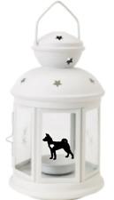 More details for basenji lantern gift dog indoor/outdoor personalised white christmas