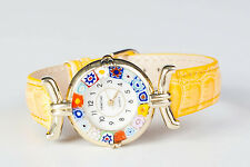 Genuine Venetian Murano Glass quartz Watch Authentic Millefiori Leather Yellow