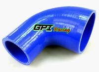 "2""- 2.5"" inch 51mm-63mm Silicone 90 Degree Reducer Elbow Joiner Hose Pipe Blue"