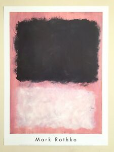 """MARK ROTHKO ABSTRACT EXPR LITHOGRAPH PRINT POSTER """"UNTITLED PINK & BLACK"""" 1967"""