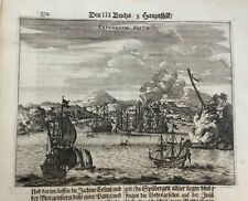 SANTIAGO SANTO DOMINGO 1673 MONTANUS RARE ANTIQUE ENGRAVED VIEW 17TH CENTURY