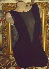 USA S/M Vtg Bodycon Dress See-thru Mini Plunge Front & Back Black Cotton Stretch