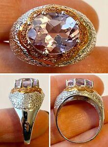 Designer Signed 10K White & Rose Gold Large Amethyst Diamond Accent Ring Sz 9