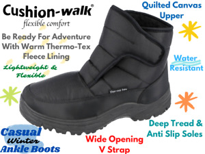 Mens Cushion Walk Black Thermo-Tex Warm Fleece Lined Casual Ankle Snow Boots UK