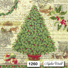 (1260) TWO Individual Paper Luncheon Decoupage Napkins - CHRISTMAS TREE HOLLY