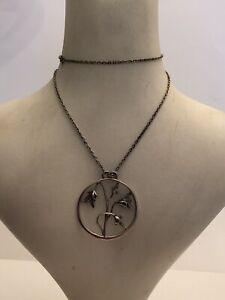 Norman Grant Silver Necklace Hallmarked Edinburgh 1979 Pendant And Chain Flower