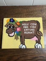 """6.25""""x 8.25"""" Needlepoint Cow HOLY COW ARE YOU EATING AGAIN?"""
