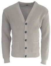 Men's Stone Waffle Knit Football Button Front Mod Retro Relco Cardigan