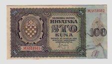 Croatia Croazia 100 Kuna  1941 q FDS aUNC     Pick 2  lotto 679