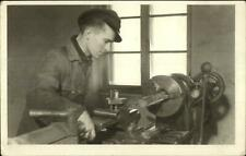 Work Labor Man at Machinery Pipe Cutting? - Great Hat Real Photo Postcard