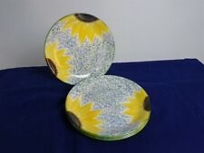 "Poole Pottery 4 Large Dinner Serving Plates - Sunflower Design - Diameter 10.5"""