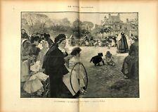 Paris Jardin du Luxembourg Jeux d'enfants cerceau d'Albert Edelfelt GRAVURE 1897